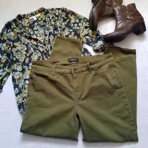 Talbots slim ankle olive green jeans 14p